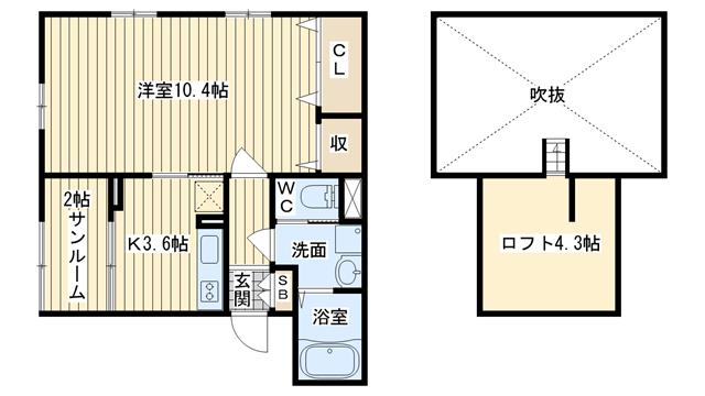 茨木市竹橋町の賃貸物件間取画像
