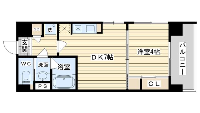 茨木市大手町の賃貸物件間取画像